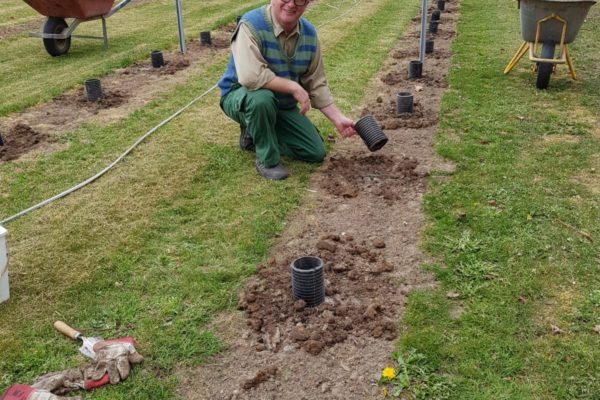 Simon planter i den nye vinmark